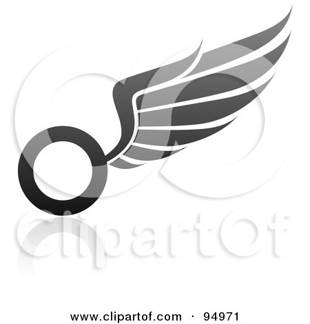 Royalty-Free (RF) Clipart Illustration of a Black And Gray Wing Logo Design Or App Icon - 8 by elena