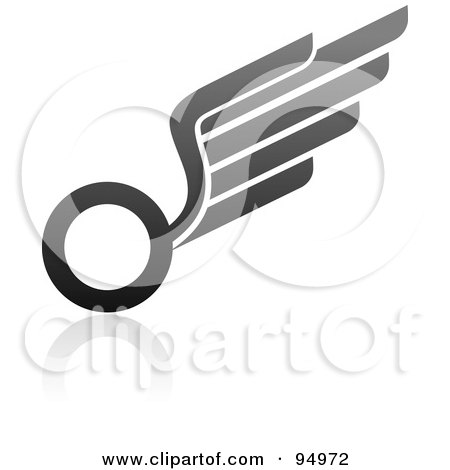 Royalty-Free (RF) Clipart Illustration of a Black And Gray Wing Logo Design Or App Icon - 9 by elena
