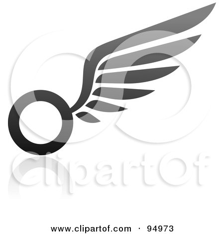 Royalty-Free (RF) Clipart Illustration of a Black And Gray Wing Logo Design Or App Icon - 7 by elena