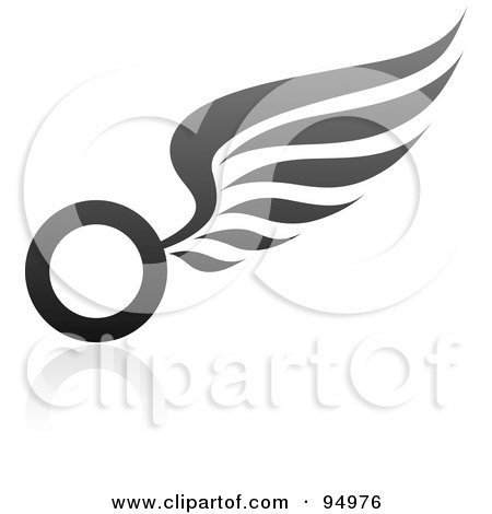 Royalty-Free (RF) Clipart Illustration of a Black And Gray Wing Logo Design Or App Icon - 1 by elena