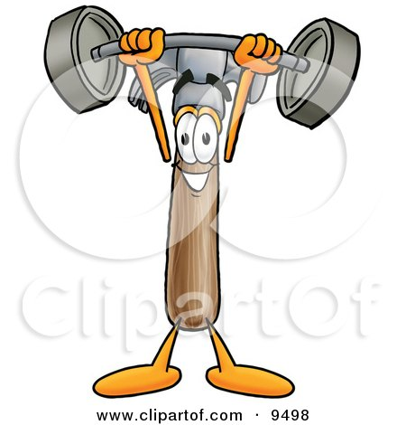 Clipart Picture of a Hammer Mascot Cartoon Character Holding a Heavy Barbell Above His Head by Toons4Biz