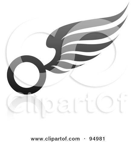 Royalty-Free (RF) Clipart Illustration of a Black And Gray Wing Logo Design Or App Icon - 11 by elena