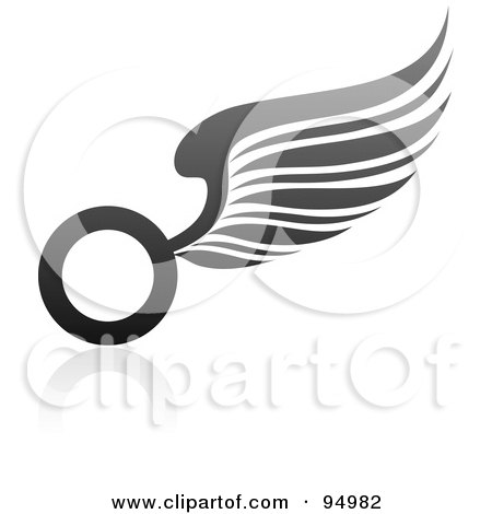 Royalty-Free (RF) Clipart Illustration of a Black And Gray Wing Logo Design Or App Icon - 2 by elena