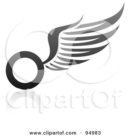 Royalty-Free (RF) Clipart Illustration of a Black And Gray Wing Logo Design Or App Icon - 12 by elena