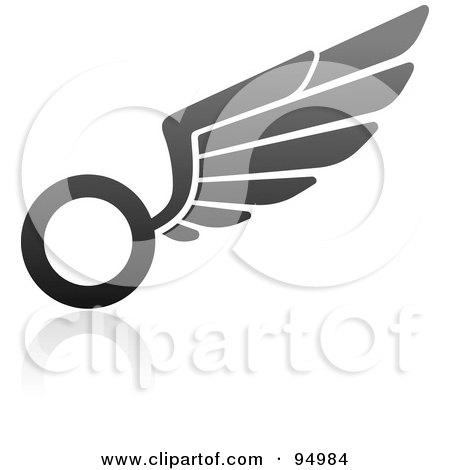 Royalty-Free (RF) Clipart Illustration of a Black And Gray Wing Logo Design Or App Icon - 4 by elena