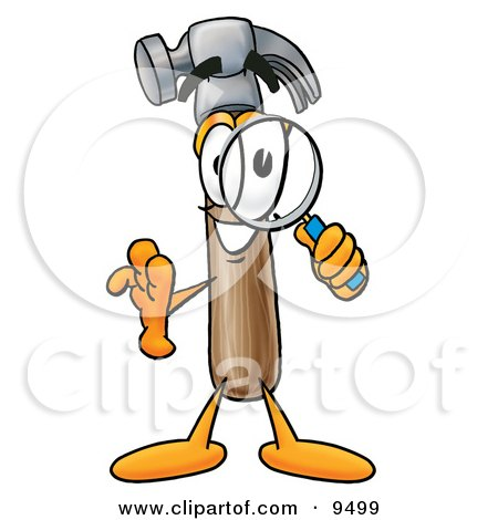 Clipart Picture of a Hammer Mascot Cartoon Character Looking Through a Magnifying Glass by Toons4Biz