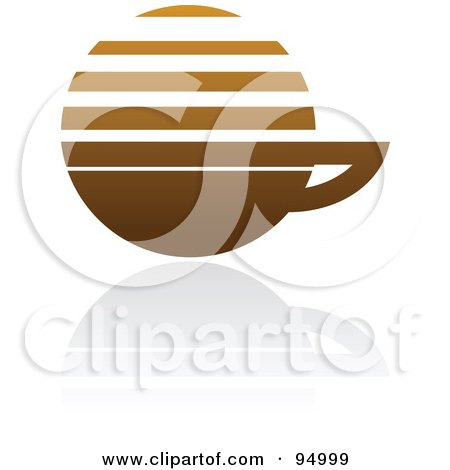 Royalty-Free (RF) Clipart Illustration of a Brown Horizontal Lined Coffee Logo Design Or App Icon - 3 by elena
