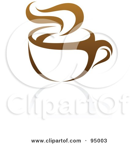 Royalty-Free (RF) Clipart Illustration of a Brown Steamy Coffee Logo Design Or App Icon - 2 by elena