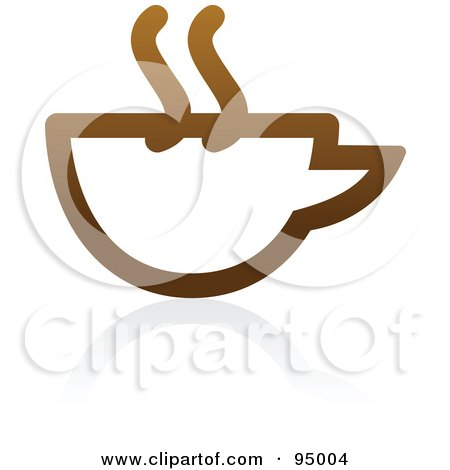 Royalty-Free (RF) Clipart Illustration of a Brown Outlined Coffee Logo Design Or App Icon - 4 by elena