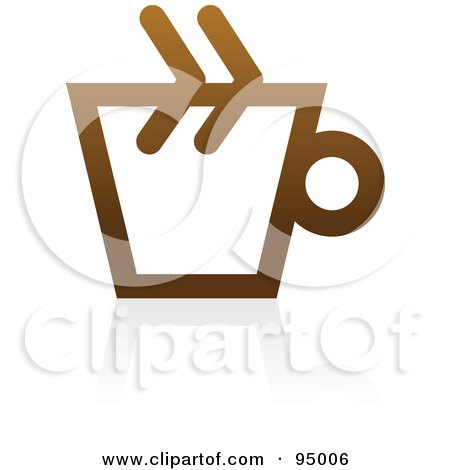 Royalty-Free (RF) Clipart Illustration of a Brown Outlined Coffee Logo Design Or App Icon - 1 by elena