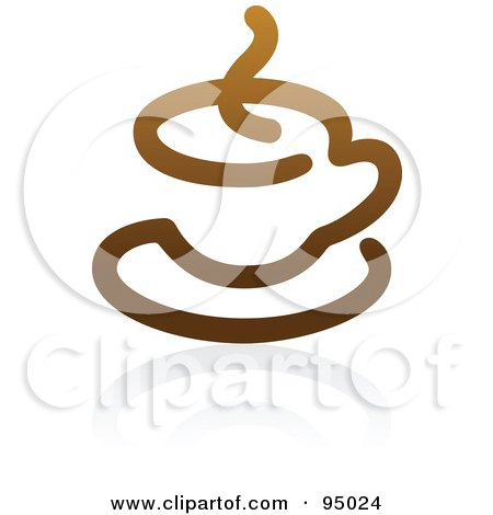 Royalty-Free (RF) Clipart Illustration of a Brown Outlined Coffee Logo Design Or App Icon - 2 by elena