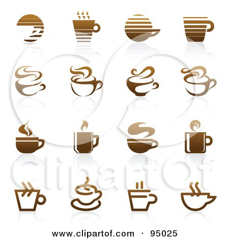 Royalty-Free (RF) Clipart Illustration of a Digital Collage Of Brown Coffee And Tea Logo Designs Or App Icons by elena