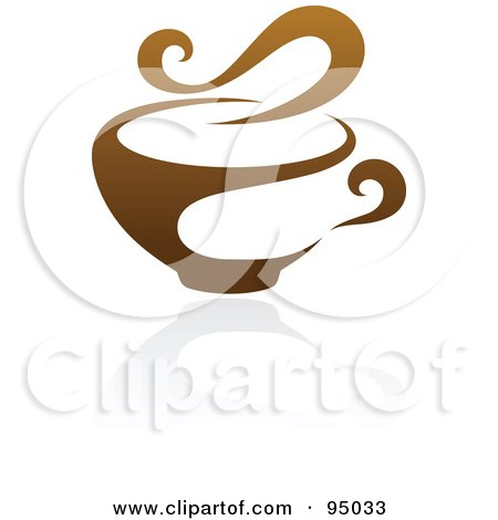 Royalty-Free (RF) Clipart Illustration of a Brown Steamy Coffee Logo Design Or App Icon - 3 by elena