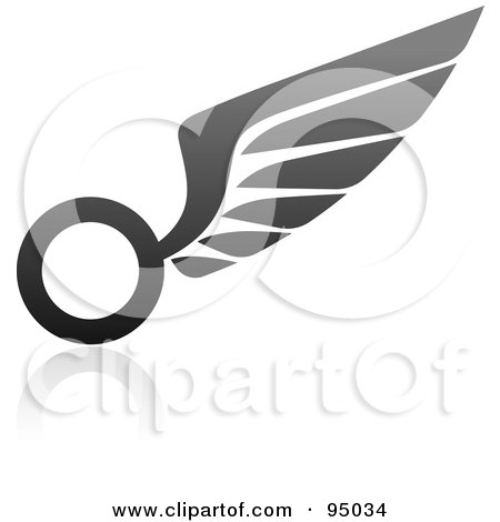Royalty-Free (RF) Clipart Illustration of a Black And Gray Wing Logo Design Or App Icon - 6 by elena