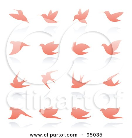 Royalty-Free (RF) Clipart Illustration of a Digital Collage Of Pink Dove And Bird Logo Designs Or App Icons by elena