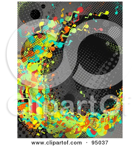 Royalty-Free (RF) Clipart Illustration of a Grungy Urban Background Of Colorful Splatters Over Gray And Black Halftone by elena