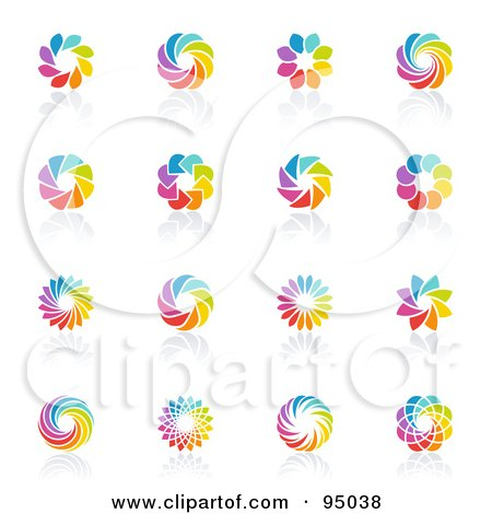 Royalty-Free (RF) Clipart Illustration of a Digital Collage Of Rainbow Circle Logo Designs Or App Icons by elena