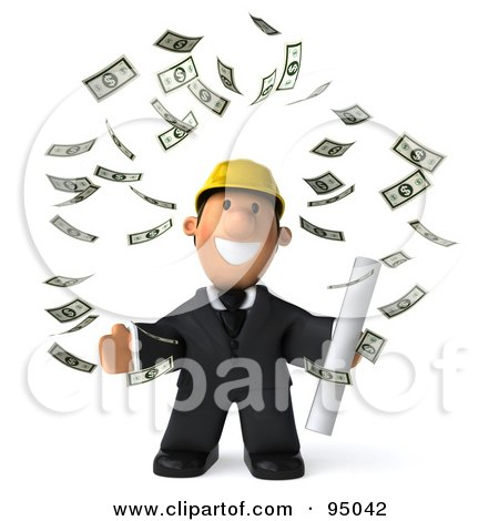 Royalty-Free (RF) Clipart Illustration of a 3d Male Architect Surrounded By Falling Banknotes - 1 by Julos