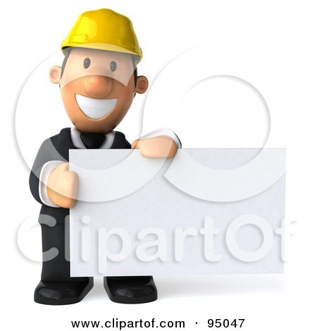 Royalty-Free (RF) Clipart Illustration of a 3d Male Architect With A Blank Sign Board - 1 by Julos