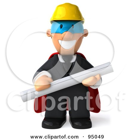 Royalty-Free (RF) Clipart Illustration of a 3d Male Architect Super Hero - 1 by Julos