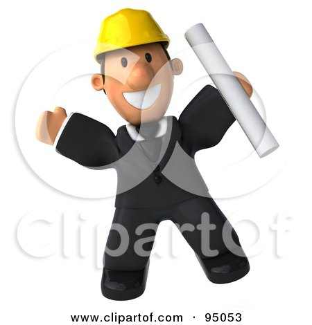 Royalty-Free (RF) Clipart Illustration of a 3d Male Architect Leaping With Plans by Julos