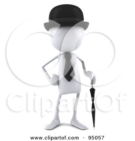 Royalty-Free (RF) Clipart Illustration of a 3d French White Bob Character With An Umbrella by Julos