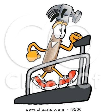 Clipart Picture of a Hammer Mascot Cartoon Character Walking on a Treadmill in a Fitness Gym by Toons4Biz