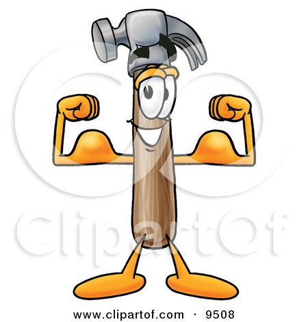 Clipart Picture of a Hammer Mascot Cartoon Character Flexing His Arm Muscles by Toons4Biz