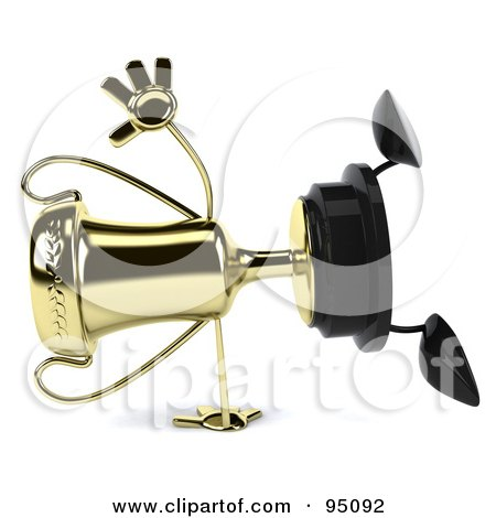 Royalty-Free (RF) Clipart Illustration of a 3d Gold Trophy Character Doing A Hand Stand - 1 by Julos