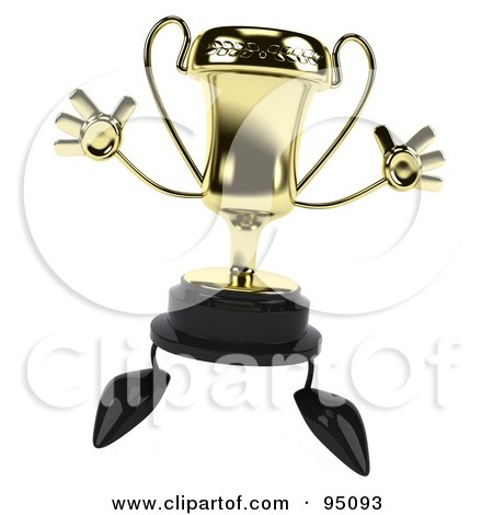 Royalty-Free (RF) Clipart Illustration of a 3d Gold Trophy Character Jumping by Julos