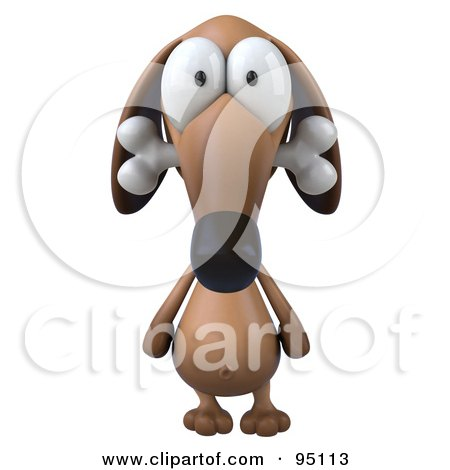 Royalty-Free (RF) Clipart Illustration of a 3d Brown Pookie Wiener Dog Character Chewing On A Doggy Bone - 1 by Julos