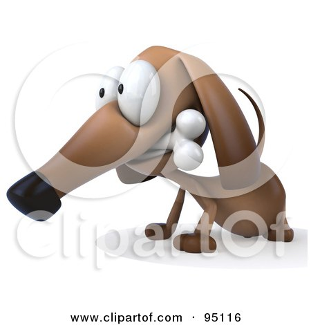 Royalty-Free (RF) Clipart Illustration of a 3d Brown Pookie Wiener Dog Character Chewing On A Doggy Bone - 4 by Julos