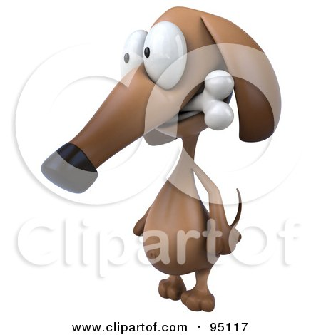 Royalty-Free (RF) Clipart Illustration of a 3d Brown Pookie Wiener Dog Character Chewing On A Doggy Bone - 2 by Julos