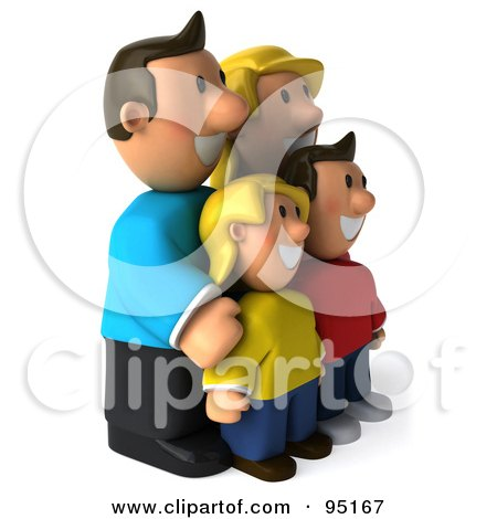 Royalty-Free (RF) Clipart Illustration of a 3d Happy Caucasian Family Facing Right by Julos