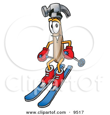 Clipart Picture of a Hammer Mascot Cartoon Character Skiing Downhill by Toons4Biz
