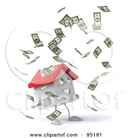 Royalty-Free (RF) Clipart Illustration of a 3d White Clay Home Character With Falling Cash - 1 by Julos