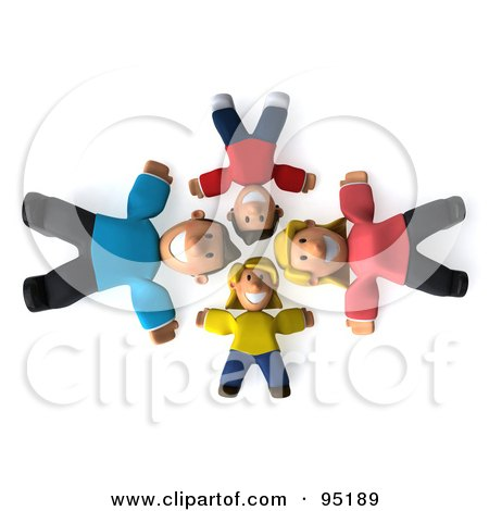 Royalty-Free (RF) Clipart Illustration of a 3d Happy Caucasian Family Laying On Their Backs In A Circle, Looking Up by Julos