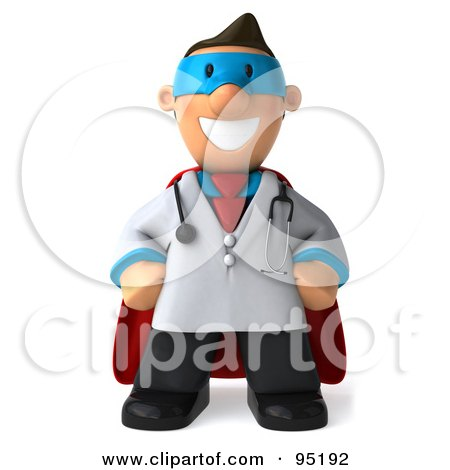Royalty-Free (RF) Clipart Illustration of a 3d Toon Guy Doctor Super Hero - 1 by Julos