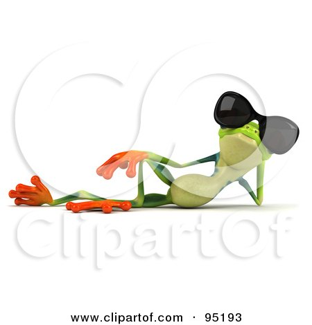 Royalty-Free (RF) Clipart Illustration of a 3d Argie Frog Wearing Sunglasses - 1 by Julos