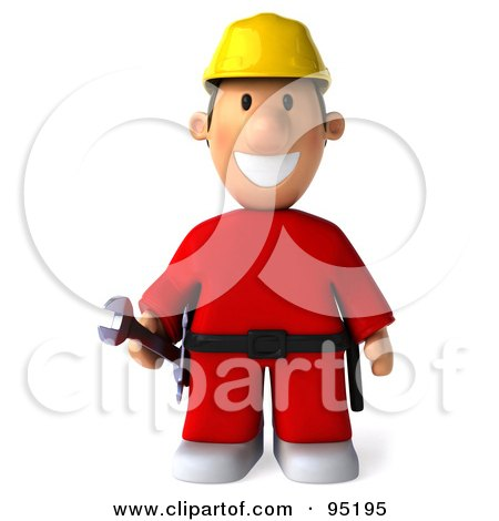 3d Construction Worker Toon Guy Facing Front Posters, Art Prints