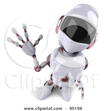 Royalty-Free (RF) Clipart Illustration of a 3d Female Techno Robot Looking Up And Waving by Julos
