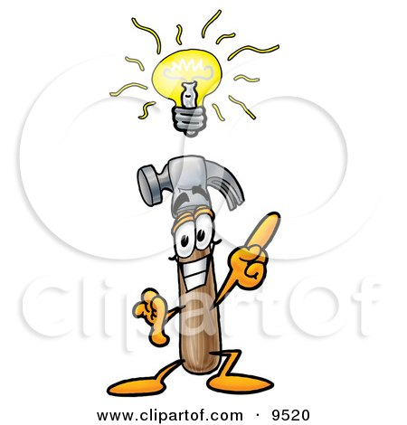 Clipart Picture of a Hammer Mascot Cartoon Character With a Bright Idea by Toons4Biz