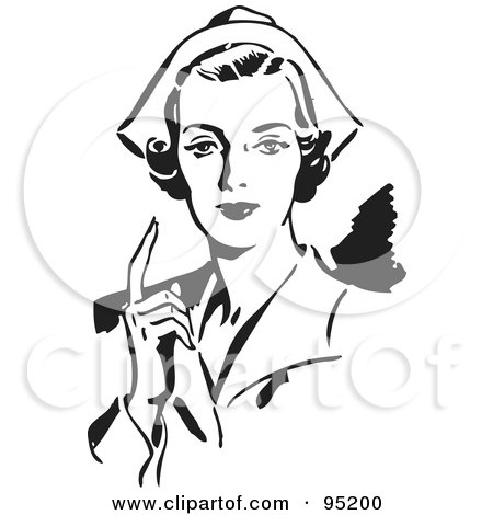 Royalty-Free (RF) Clipart Illustration of a Black And White Retro Female Nurse Holding Up One Finger by BestVector