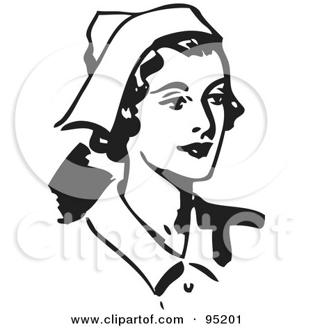 Royalty-Free (RF) Clipart Illustration of a Black And White Retro Female Nurse Facing Right by BestVector