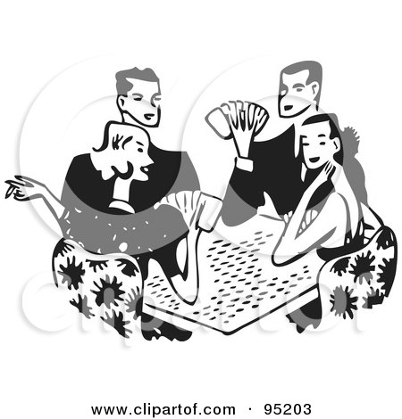 Royalty-Free (RF) Clipart Illustration of a Black And White Group Of Retro Adults Playing Poker by BestVector