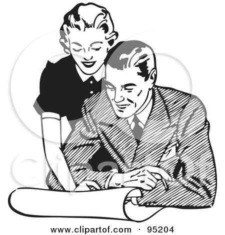 Royalty-Free (RF) Clipart Illustration of a Black And White Retro Woman Leaning Over A Man And Discussing Plans by BestVector