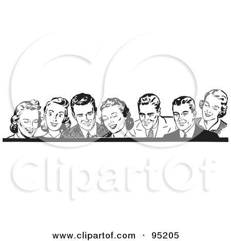 Royalty-Free (RF) Clipart Illustration of a Border Of Retro Men And Women In Black And White by BestVector