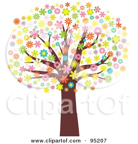 Royalty-Free (RF) Clipart Illustration of a Mature Tree With An Umbrella Of Blossoming Flowers by KJ Pargeter