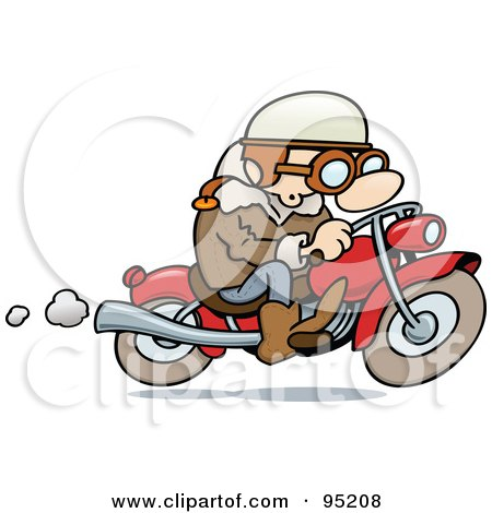 Royalty-Free (RF) Clipart Illustration of a Toon Guy Biker Riding His Motorcycle by gnurf