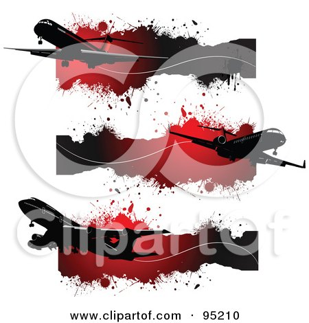 Royalty-Free (RF) Clipart Illustration of a Digital Collage Of Site Headers Of Silhouetted Commercial Planes Over Grungy Red Splatters by leonid